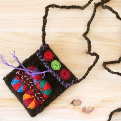 メキシコ ウール刺繍ポーチSS(ブラック)