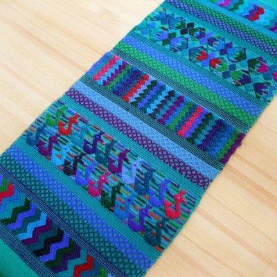 グアテマラ テーブルクロスマヤ刺繍M(グリーン )[約35×120cm]