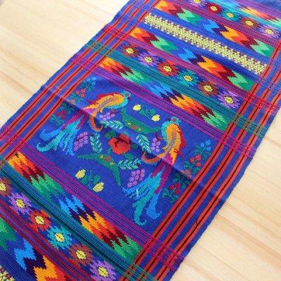グアテマラ テーブルクロスケツァール刺繍(ブルー)