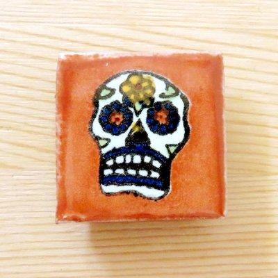 メキシコ タイルマグネットS(ガイコツブラウン)