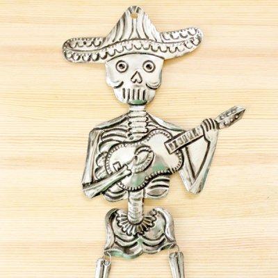 メキシコ ブリキオーナメントガイコツL(ギター)