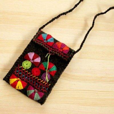 メキシコ ウール刺繍ポーチS(ブラック)