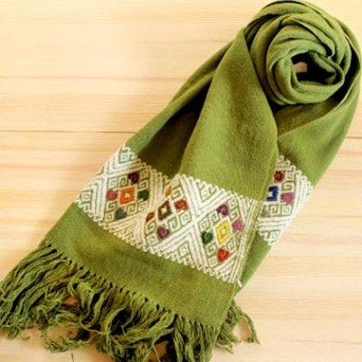 メキシコ ストールウール刺繍(グリーン)