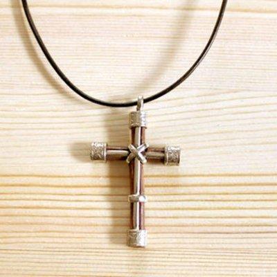 メキシコ ペンダントトップ十字架レザー(ブラウン)