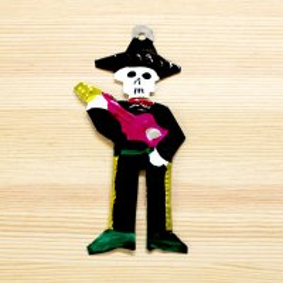 メキシコ ブリキオーナメントM(ガイコツギター)