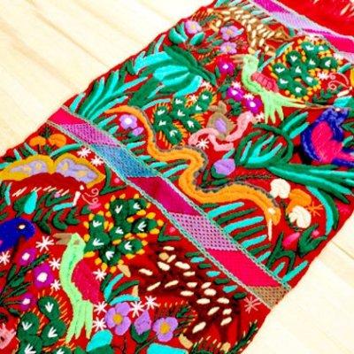 メキシコ センターテーブルクロス刺繍M(レッド)