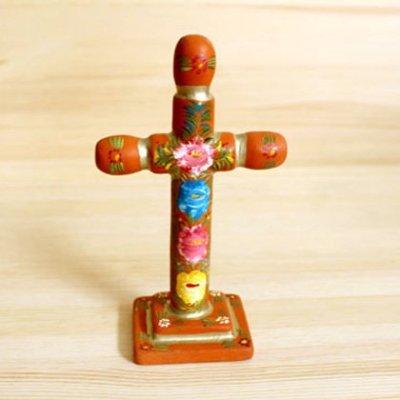 メキシコ 十字架ウッドスタンドM(オレンジA)[16cm]