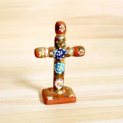メキシコ 十字架ウッドスタンドS(オレンジ)[10cm]
