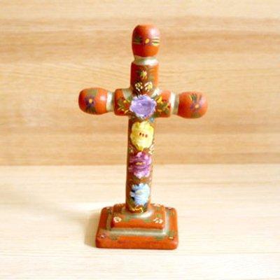 メキシコ 十字架ウッドスタンドM(オレンジB)[16cm]