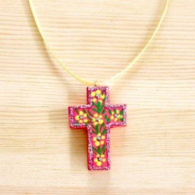 メキシコ 十字架ウッドペイントペンダントトップ(A)