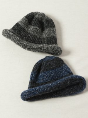 【Indietro Association】 Mohair border knit cap -2色展開-