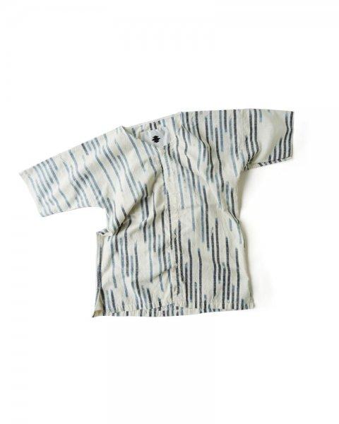 ≪義志≫ダボシャツ 型第2 「かすれ縞」白に紺