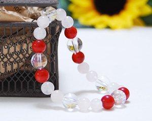 ローズクォーツ×コーラル×オーロラ水晶 天然石ブレスレット 〜真実の愛と美を兼ね備えた女神の石