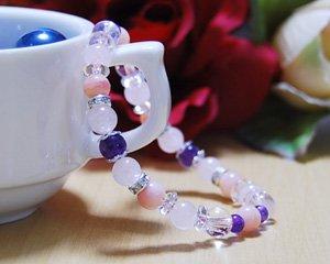 ピンクオパール×ローズクォーツ×アメジスト 天然石ブレスレット 〜輝きで魅せる魅惑のワルツ
