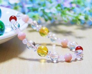 ピンクオパール×ローズクォーツ×シトリン 天然石ブレスレット 〜太陽の力を秘めた黄金の輝き