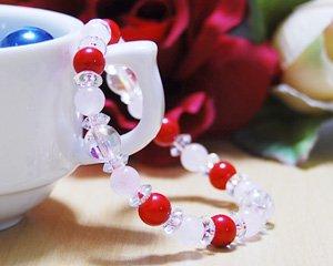 ローズクォーツ×コーラル×水晶 天然石ブレスレット 〜真実の愛と比類なき美の象徴