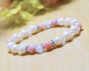 パール×ピンクオパール×ローズクォーツ 天然石パワーストーンブレスレット 〜女神の慈愛、柔らかな輝き