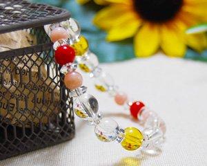 シトリン×ピンクオパール×水晶×コーラル 天然石ブレスレット 〜太陽と海の恵み