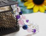 ラピスラズリ×ローズクォーツ×アメジスト×オーロラ水晶 天然石ブレスレット 〜心を癒す幸運のブレス