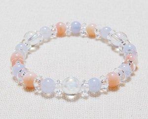 ブルーレースアゲート×ピンクオパール×水晶 天然石ブレスレット 〜清らかで美しいロータス 詳細画像2