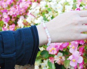 インカローズ×ローズクォーツ×ピンクオパール×ムーンストーン 天然石ブレスレット 〜愛あるバラ色の人生 詳細画像3