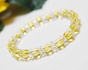 シトリン×水晶 天然石パワーストーンブレスレット 〜繁栄と富をもたらす太陽からの贈り物