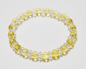 シトリン×水晶 天然石パワーストーンブレスレット 〜繁栄と富をもたらす太陽からの贈り物 詳細画像2