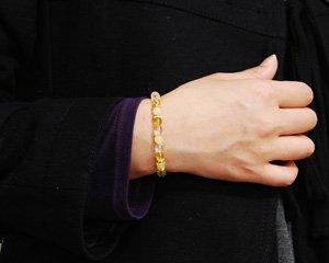 シトリン×アラゴナイト×水晶 天然石パワーストーンブレスレット 〜金運を引き寄せるゴールデンブレス 詳細画像3