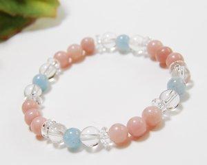 ピンクオパール×アクアマリン×水晶 天然石パワーストーンブレスレット 〜母なる海の愛の波動