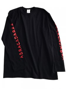 予約商品:ABRACADABRA sleeve logo LongTee black×red