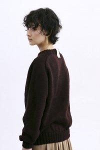 ユニセックス クルーネック ハンドニットセーター