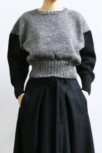 【受注商品】Cotswolds Wool 6ply Bi Color Crew Neck Short Sweater : heather black×black