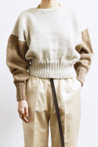 Cotswolds Wool 6ply Bi Color Crew Neck Short Sweater : heather beige×camel