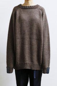 【受注商品】Cotswolds Wool 6ply Epaulet Sleeve Double Crew Neck Sweater : heather blown