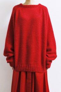 【受注商品】Extra Kid Mohair Epaulet Sleeve Double Crew Neck Sweater : red