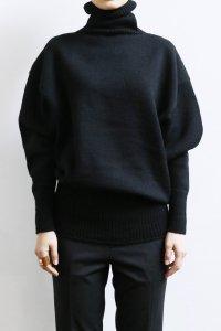 【受注商品】Cotswolds Wool 3ply Turtleneck Long Rib Sweater black