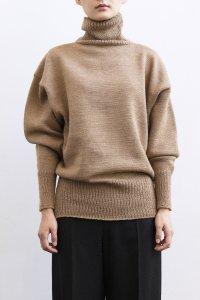【受注商品】Cotswolds Wool 3ply Turtleneck Long Rib Sweater camel