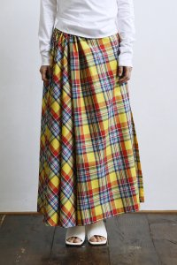 Madrascheck 3Slits Gathered Skirt (yellow)