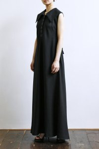 Linen Big collar Bias Maxi One Piece