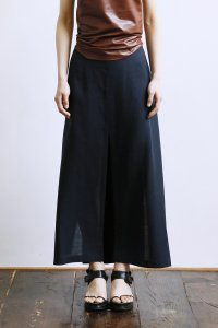 Linen 3Slits Gathered Skirt (navy)
