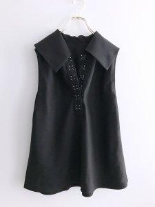 Linen Big collar Bias No Sleeve Blouse (Linen Black)