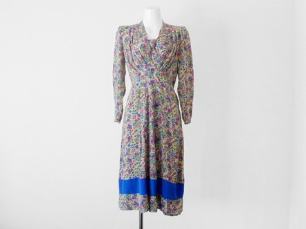 Blue・Purple Flower  Old rayon tea dress