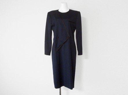 Dark navy wool  black trim  geometric cut dress