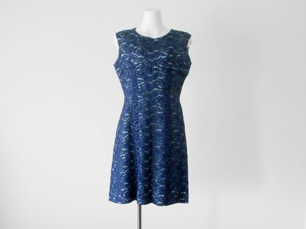 Navy lace  Water Blue inner  Evening Dress