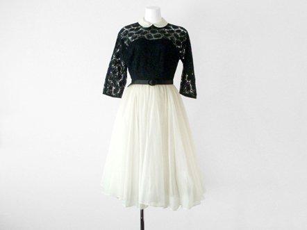 Black lace top  White chiffon skirt  evening dress