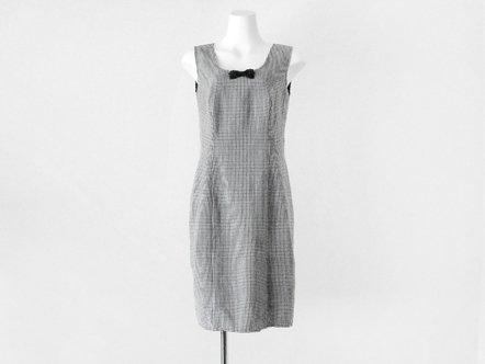 Black white gingham  bow tie day dress