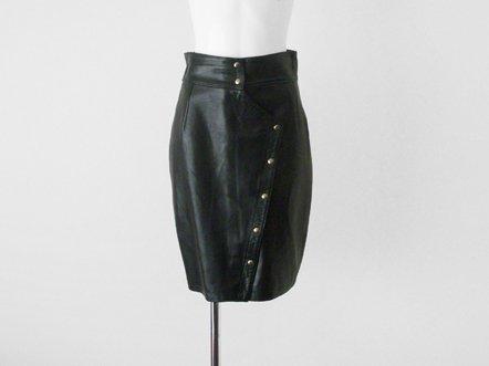 Black leather  high waist sheath skirt