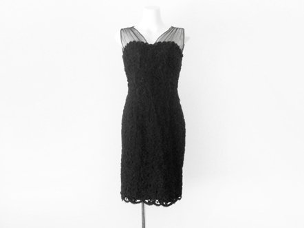 Black lace wool  shoulder sheer  couture dress