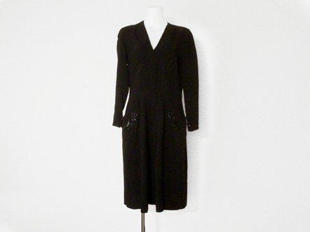 Black Rayon  Sequins evening dress
