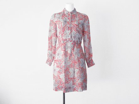 Vermillion Navy  Flower printed  Gauze cotton dress